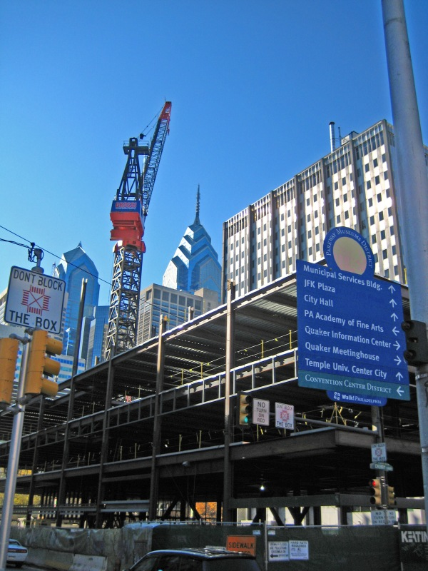 Cunstruction in center city.