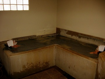 Frank and Kat in the couples room at the mud baths.  Note the Romanesque tubs.