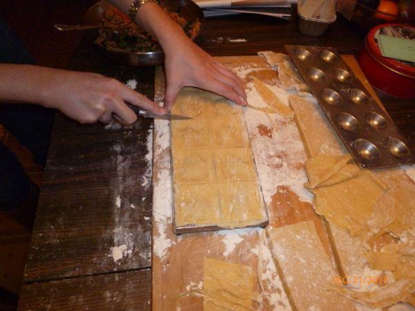 Stamping out ravioli.