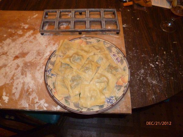 Cooked ravioli.
