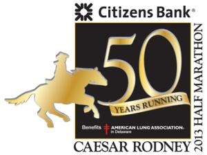 Official logo for the 50th anniversary of the Caesar Rodney Half Marathon