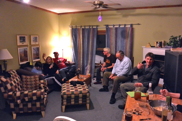 The gang in the annex, planning our day at Pico.
