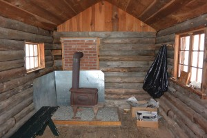 Inside the hut.