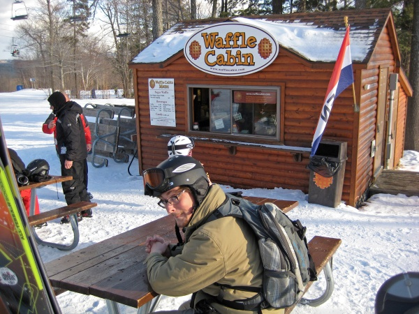 At the Waffle Cabin on the slopes at Okemo