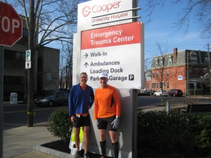 Steve and Frank at the entrance drive to Cooper Hospital.