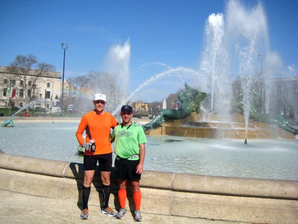 Keith and Frank in front of the Swann fountain in Logan Circle, symbolizing the three major rivers of Philadelphia.