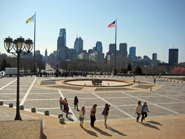 Looking back at Philly from the top of the Art Museum steps.