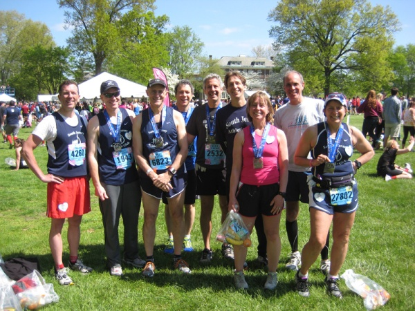 Some of our SJAC club members at the Naval Yard after the Broad Street Ten Miler, 5/5/13