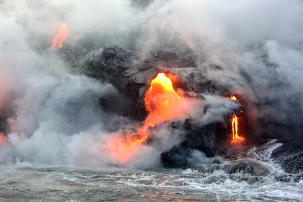 In some areas the lava flowed like a river, in others, it fell as if from a lava faucet