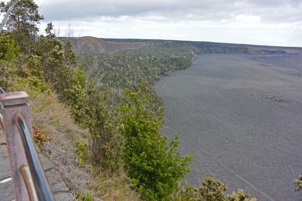 Along the edge of the caldera is a hiking trail.  The tiny white dot in the photo is a sign warning hikers to not go off the trail.