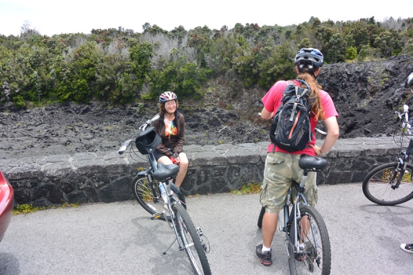 At a stop along the way, on our bike tour of the Hawaiian Volcano National Park