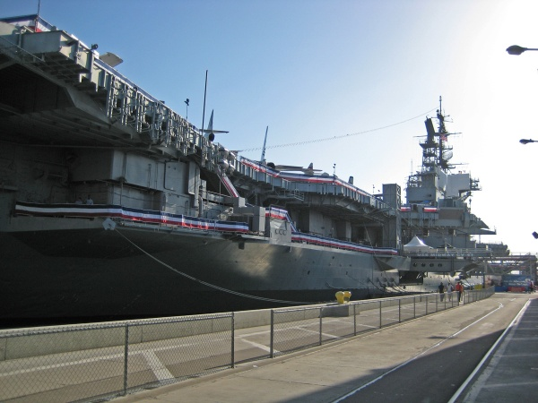 USS Midway aircraft carrier in it's permanent berth in San Diego Harbor