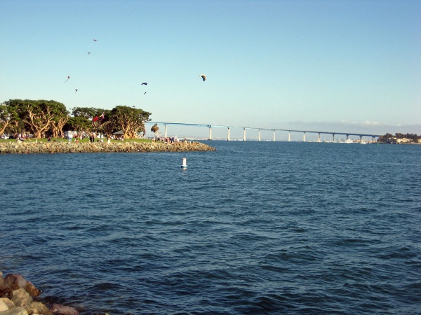 Coronado Bay bridge, and kite flyers