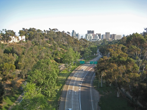 View facing south from the Cabrillo Bridge, over Highway 163, the Cabrillo Highway.