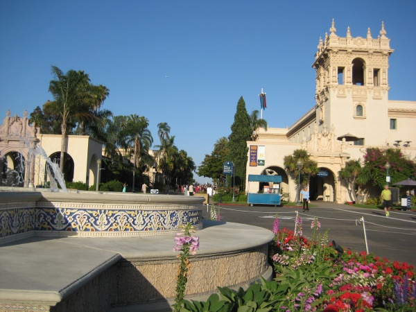 Looking past the central fountain towards the buildings of El Prado in Balboa Park