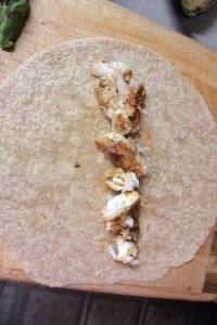 Tortilla with monkfish.  This was grilled with a fajita marinade.