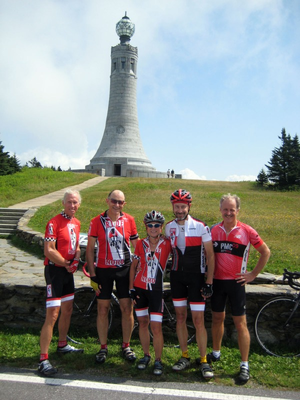 Bob, Frank, Elaine, Aldo and Keith at the summit of Greylock, with the Veterans War Memorial in the background.
