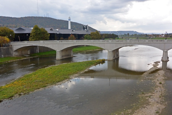 The frequently flooded Chemung River, a tributary of the Susquehanna, in Corning, N.Y.