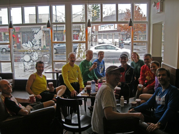 SJAC members hanging out at Starbucks after our Sunday morning run.