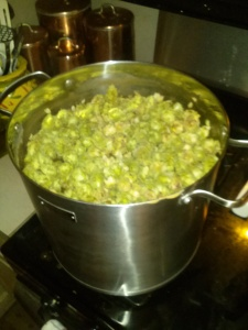Homegrown hops in the boil