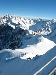 The trek down to the start of the ski run, Vallée Blanche