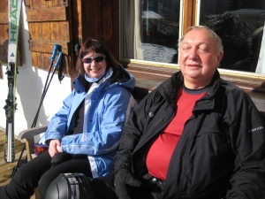 Teresa and AJ, among the UK set, enjoying the alpine sun.