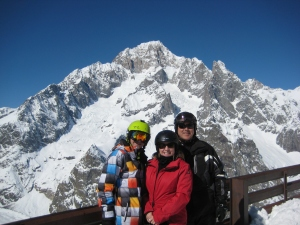 Drew, Jen and Eric, part of our Pennsylvania contingent, with Monte Bianco looming over us.