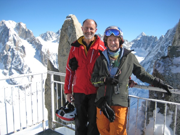 Frank and Kristine at the top of Grands Montets