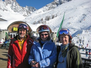 Frank, Teresa and Kristine after successfully descending off the top of Les Grands Montets summit.