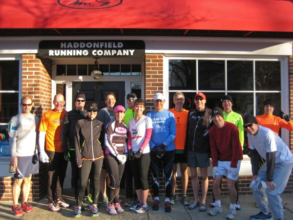 At the start of Rocky II, in front of the Running Company in Haddonfield