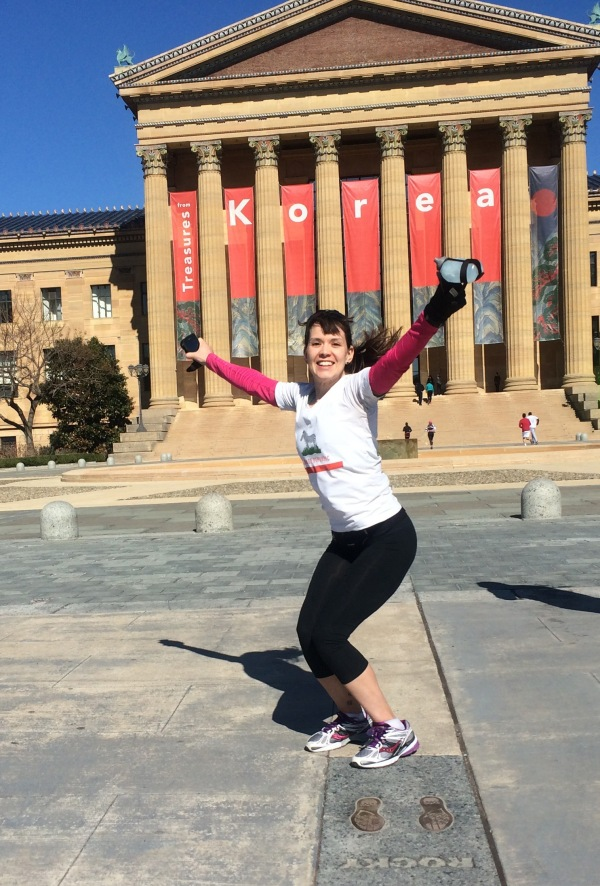 "Michele atop the Philadelphia Art Museum steps (see my previous blog, ""Rocky II, It's a Knockout"")"