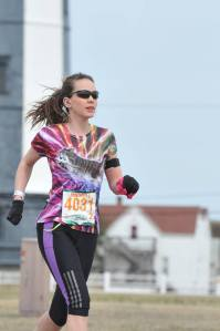 Michele running her marathon PR this year.