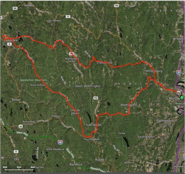 The route, from Northampton to Skyline Trail and back.