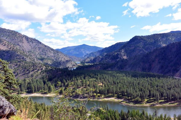Scenic view of Clark Fork River upstream from Missoula.